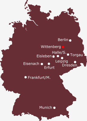 Germany map - Distances from Wittenberg